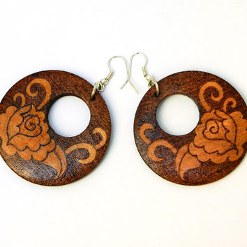 Woodburned wooden earrings Oriental Rose pyrography round dangle earrings for pierced ears