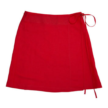 Season Mini Wrap Linen Skirt - Red
