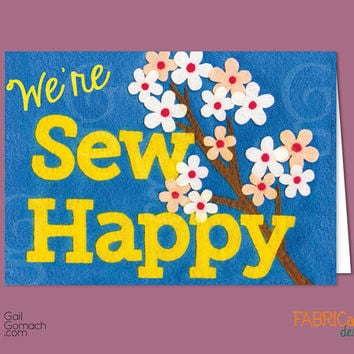 Quilted Card, We're Sew Happy, Congratulations, Greeting Card, Felt Card, Printed on Cardstock, Blank, 5 x7 w/ envelope, Cherry Blossoms