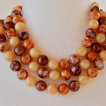 Vintage Beaded Necklace Brown Tan Lucite Three Strand Graduated Adjustable Made in Germany Mid Century 1950's // Vintage Costume Jewelry