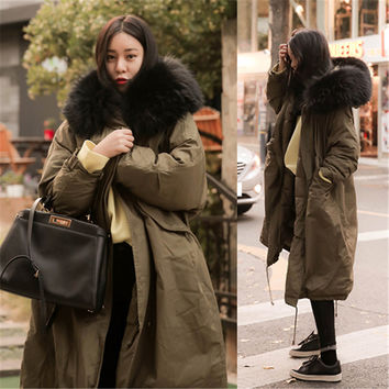 2016 New Women Winter Coat Wadded Jacket Big Fur Collar Hooded Parka Thick Warm Long Cotton Jacket Casaco Maxi Coats Abrigos