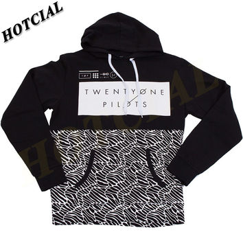 Sweatshirts Fashion Men Patchwork Spring Twenty One Pilots Half Pattern Pullover Print Black Plus Size Casual Hoodie