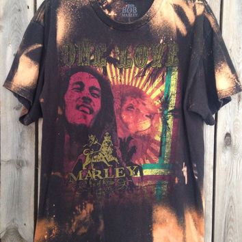 Bleached, tie dyed  Bob Marley size Large shirt unisex