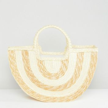 South Beach Half Moon Contrast Stripe Straw Beach Bag at asos.com
