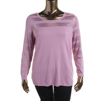 INC Womens Plus Knit Burnout Pullover Top