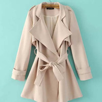 Notched Collar Belted Long Sleeve Coat
