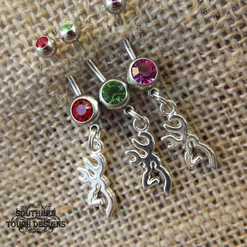 small deer belly button ring, silver deer head, country jewelry, redneck, wedding gift, cowgirl, camo hunter jewelry, piercings, body