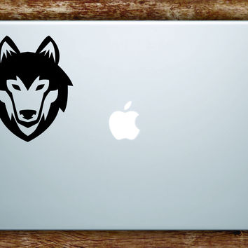 Wolf Face Laptop Apple Macbook Quote Wall Decal Sticker Art Vinyl Animal Dog