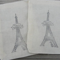 Set of 10 Hand stamped Paris French Eiffel Tower Wedding Bag Muslin Party Favor Bags 100% organic made in america