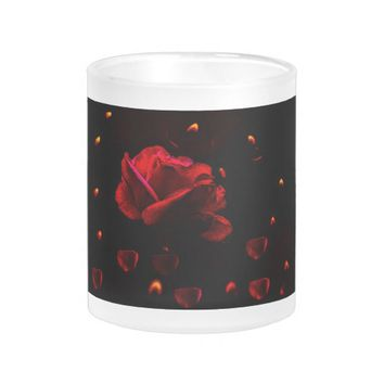 Frosted mug with rose and candle's