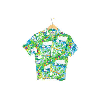 vintage HILO HATTIE hawaiian shirt - tropical print - festive - thin cotton shirt - 70s / 80s