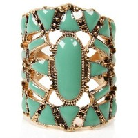 Sale-mint And Gold Geo Cut