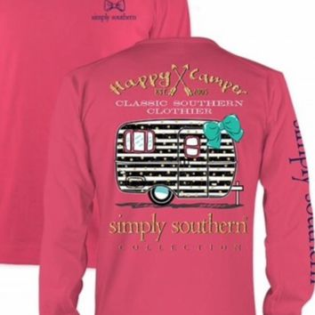 Simply Southern Happy Camper  Long Sleeve Tee- Pink