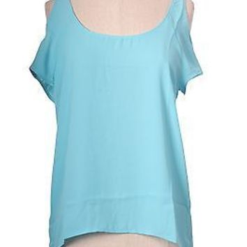 Open Shoulder Short Sleeve Sheer Chiffon Hi-Low Hem Blouse Boxy Top