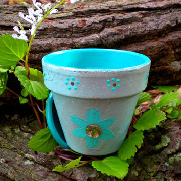 Hand Painted Turquoise Blue and Gray Flower Pot - Rustic with Abalone Flower