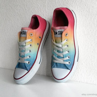 Soft rainbow ombre Converse All Stars, dip dye upcycled sneakers, Chucks, size eu 38 (UK 5.5, US wo 7.5, US men's 5.5)