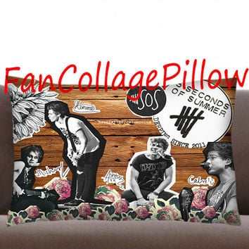 "Custom Pillow Cases 5sos collage art ,available size 18"" x 18"", 16"" x 24"", 20"" x 30"" one side and two side cover"