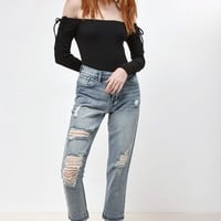 Me To We Sleeve Lace-Up Off-The-Shoulder Top at PacSun.com