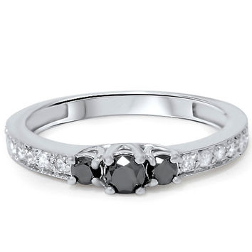 Black Diamond 1/2Ct 3 Stone Engagement Anniversary Ring 14K White Gold
