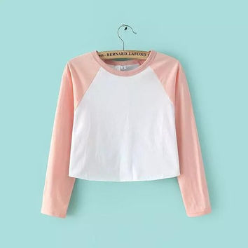 Color Block 3/4 Sleeve Crop Toop B0013904