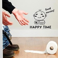 Amazon.com: Waterproof Happy Time Pattern Toilet Sticker Bathroom Wall Stickers