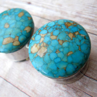 "Pair of Flecked Turquoise Plugs - Gauges - 5/8"", 3/4"", 7/8"", 1"" (16mm, 19mm, 22mm, 25mm)"