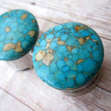 """Pair of Flecked Turquoise Plugs - Gauges - 5/8"""", 3/4"""", 7/8"""", 1"""" (16mm, 19mm, 22mm, 25mm)"""