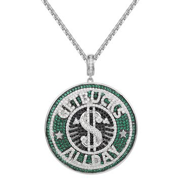 Multi Color Get Bucks All Day Iced Out Pendant Necklace