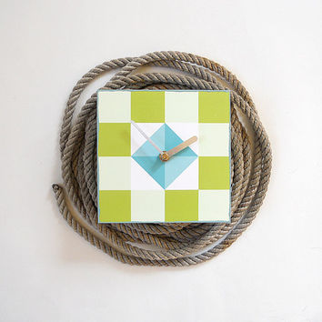 AHOY: geometric nautical wall shelf art block clock