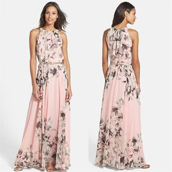 Summer Beach Long Evening Party Dresses one pieces Fashion Women clothes Maxi Boho Floral print sleeveless chiffon