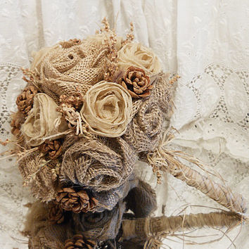 "Burlap and Pinecone Rose Bridal Bouquet, Rustic, Elegant and Country. Measures 8"" wide by 11"" tall. Ready to Ship!"