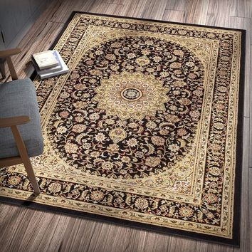 6109 Black Gold Medallion Persian Area Rugs