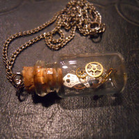 Time Traveler Necklace Glass Jar with Watch Parts and Gears Steampunk