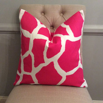 Handmade Decorative Pillow Cover - Hot Pink - Giraffe - Premier Prints - Indoor Outdoor