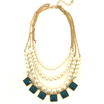 Green & Pearls Layered Necklace