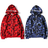 Bape X Champion Popular Women Men Camouflage Print Hoodies Zippers Couple Casual Jacket Coat Sweater