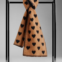 Cashmere Jacquard Heart Scarf