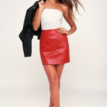 Baddie Red Vegan Leather Mini Skirt