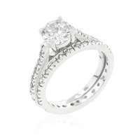 Glistening Engagement Ring Set (size: 10)