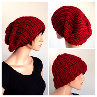 Hand Knitted Slouchy Beanie. Red Knitted Slouchy Beanie. Unisex Knit Beanie