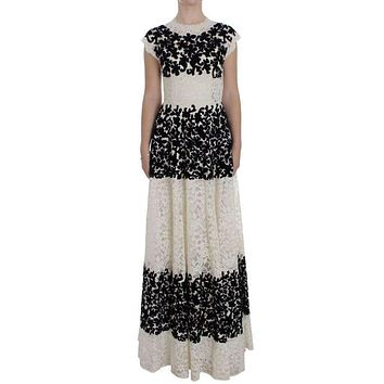 Dolce & Gabbana Floral Lace Ricamo Long Ball Maxi Dress