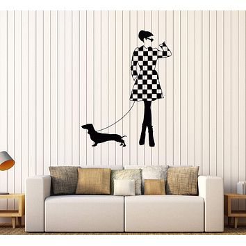 Vinyl Wall Decal Lady With a Dog Fashion Style Girl Stickers Mural Unique Gift (568ig)