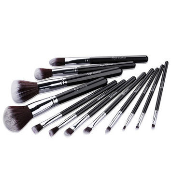 Professional Portable 12pcs Makeup Brushes Set Cosmetic Tool Beauty Cosmetic Foundation Cream _ 3487