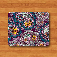 Flower Paisley Seamless Floral Design Mouse Pad Hand Draw Vintage Lace Desk Deco Rubber MousePad Office Gift Computer Pad Personalized Gift