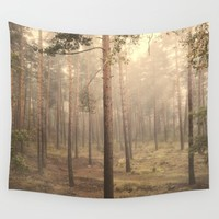 """Rectilineum"". Secret places. Foggy dreams. Retro Wall Tapestry by Guido Montañés"