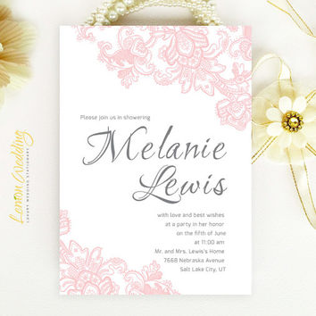 Pink Lace Bridal Shower Invitation - Blush pink and grey elegant calligraphy style invitation printed on luxury pearlescent paper