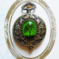 Emerald Bewitchment--- Pocket watch necklace-Christmas gift