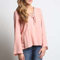 Kori America Blush Bell Sleeve Lace Up Top