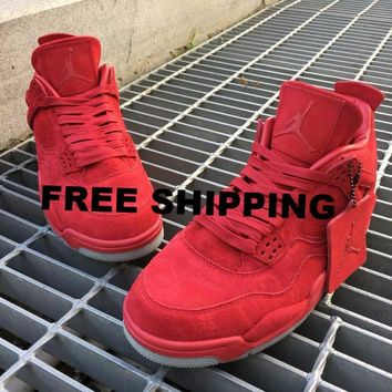 "【FREE SHIPPING】KAWS X AIR JORDAN 4 (RED ""KAWS"")  Basketball Sneaker  AJ4"