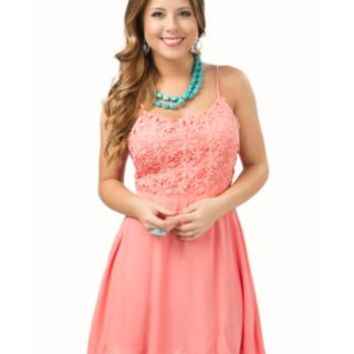 Double Zero Women's Salmon with Floral Crochet Top Sleeveless Dress